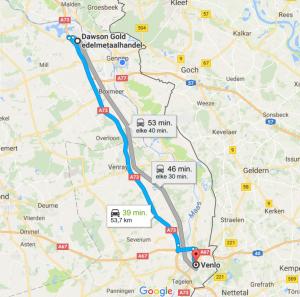 Dawson Gold afstand tot Venlo