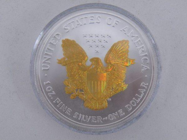 Silver eagle liberty hologram