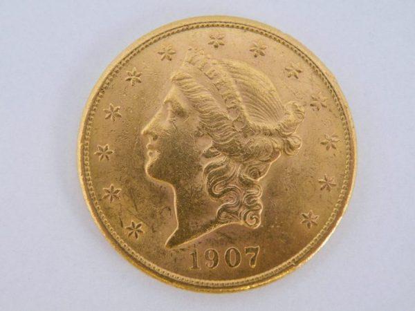 $ 20 twenty dollar goud 1907