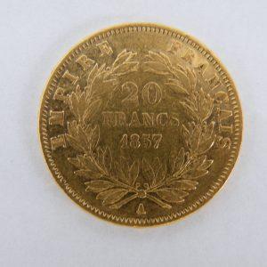 20 Francs Frankrijk 1857 goud