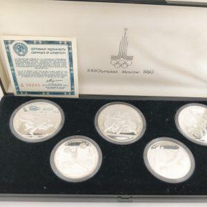 Zilveren munten Rusland Olypische spelen 1980 5 roebels en 10 roebels muntenset