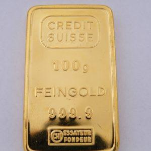 100 gram goud goudbaar Credit Suisse