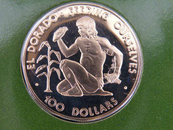 Gouden $ 100 1977 Guyana munt