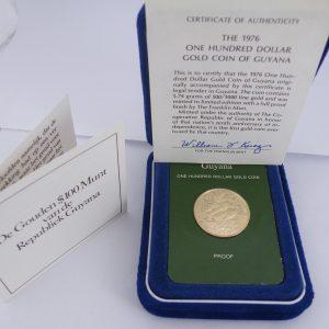 Gouden $ 100 1976 Guyana munt