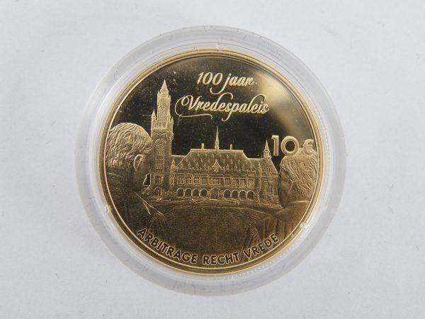 Gouden tientje € 10 tien euro Vredespaleis tientje