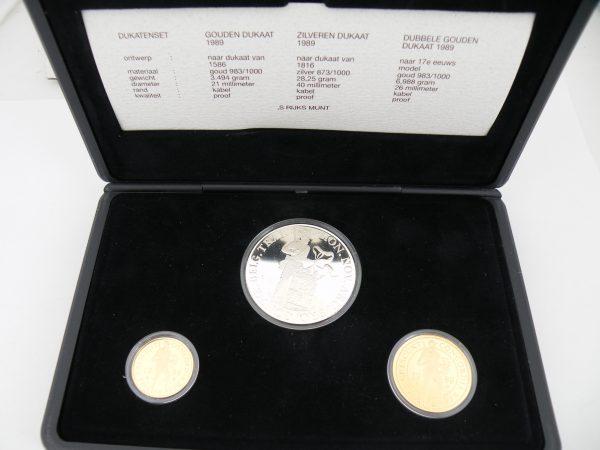 Dukaten set goud en zilver enkele dukaat en dubbele dukaat 1989