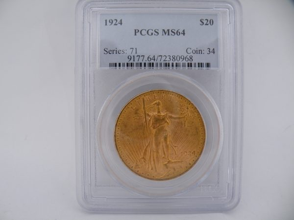 $ 20 Liberty twenty dollars gouden munt in slab 1924