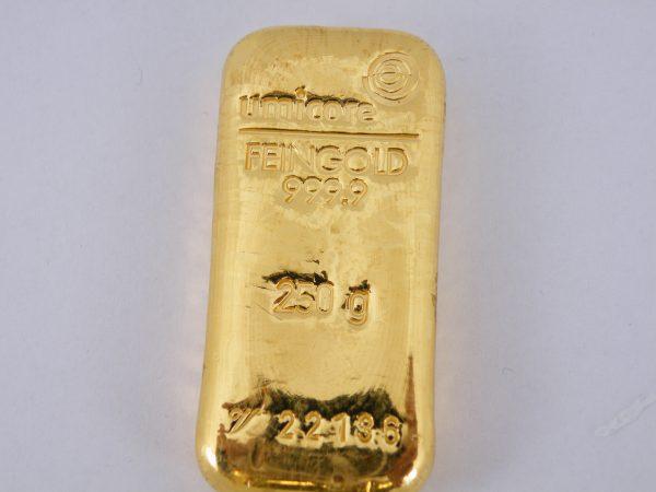 Goudbaar 250 gram Umicore