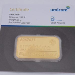 Goudbaar 50 gram umicore certificaat