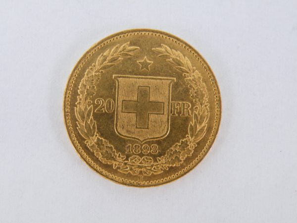 Gouden 20 francs Zwitserland 1893 Helvetia