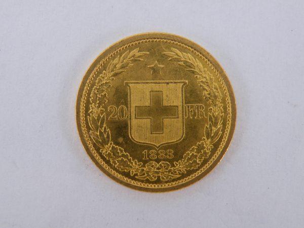 Gouden 20 francs Zwitserland 1883 Helvetia