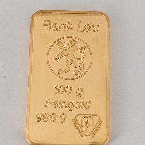 100 gram goudbaar Bank Leu Metalor